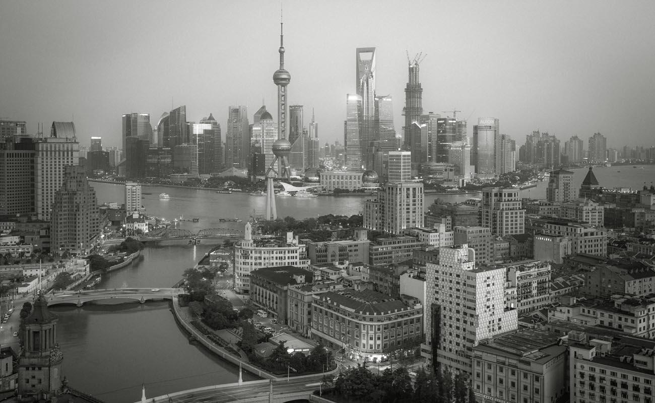 上海 城市 黑白