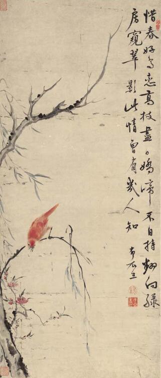 清-华严--高枝好鸟图