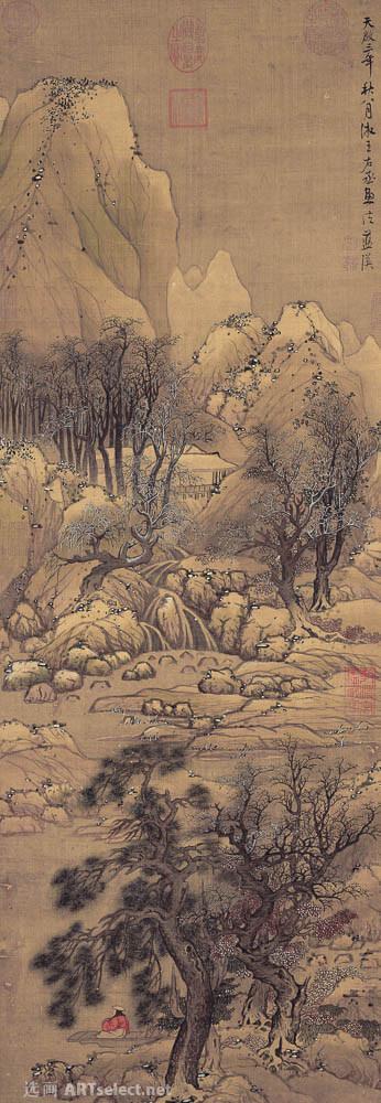 明 蓝瑛 溪山雪霁图