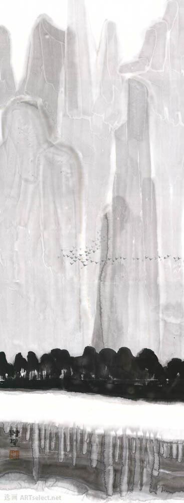 黑白山水条屏1