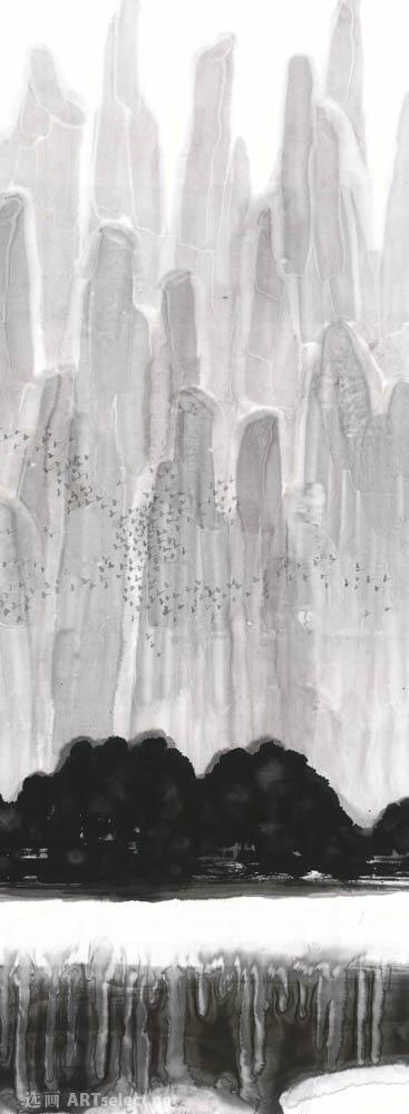 黑白山水条屏3